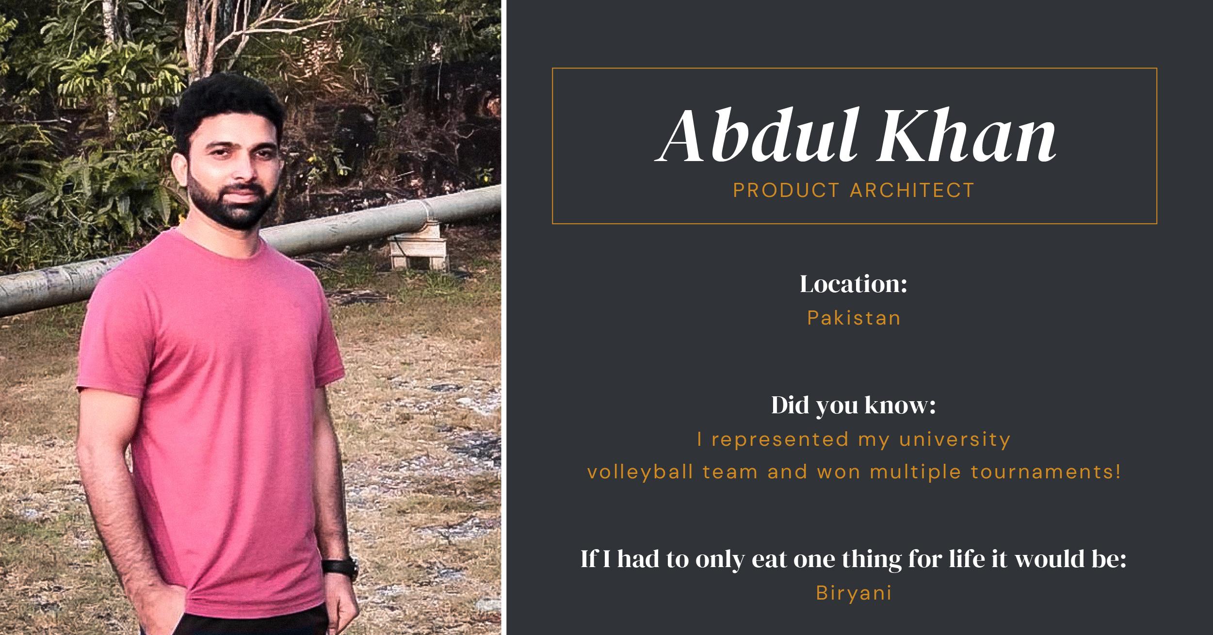 Abdul Khan Product Architect