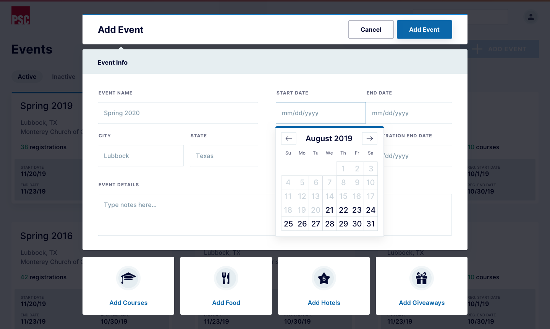 Add Event - calendar open